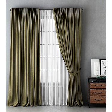 Комплект штор Алекс, оливковый