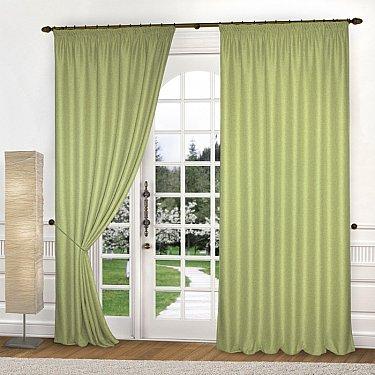 Комплект штор лен-рогожка K334-7, зеленый