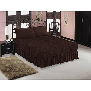 Чехол на кровать универсальный Caprise с наволочками, темный шоколад