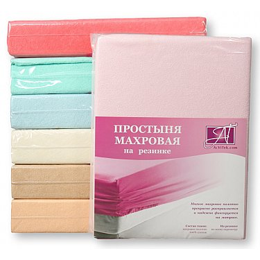 Простынь махровая на резинке, розовый