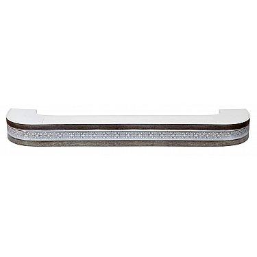 """Карниз потолочный пластиковый поворотный """"Акант"""", 3 ряда, серебро антик"""