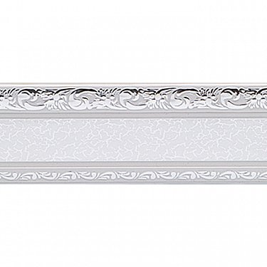 """Карниз потолочный пластиковый без поворота """"Гранд"""", 2 ряда, серебро"""
