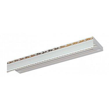 """Карниз потолочный пластиковый без поворота """"Гранд"""", 3 ряда, белое золото, 180 см-A"""