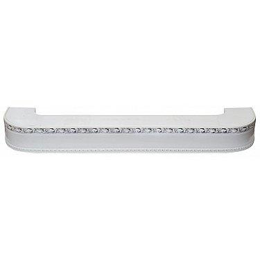 """Карниз потолочный пластиковый поворотный """"Гранд"""", 2 ряда, белый хром, 380 см-A"""