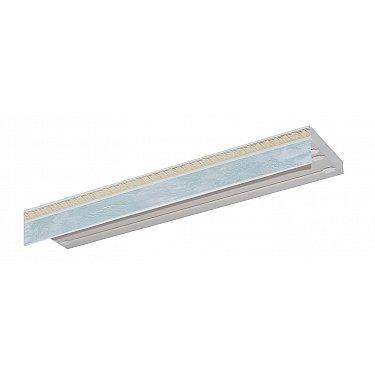 """Карниз потолочный пластиковый без поворота """"Греция"""", 3 ряда, белый мрамор"""