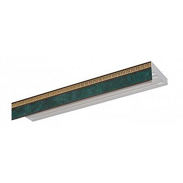 """Карниз потолочный пластиковый без поворота """"Греция"""", 3 ряда, зеленый"""