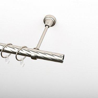 Карниз металлический стыкованный, 1-рядный, хром матовый, крученая труба, ø 25 мм