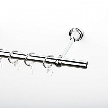 Карниз металлический стыкованный, 1-рядный, хром, гладкая труба, ø 19 мм