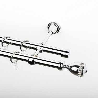 """Карниз металлический стыкованный, 2-рядный """"Верона"""", хром, гладкая труба, ø 19 мм"""