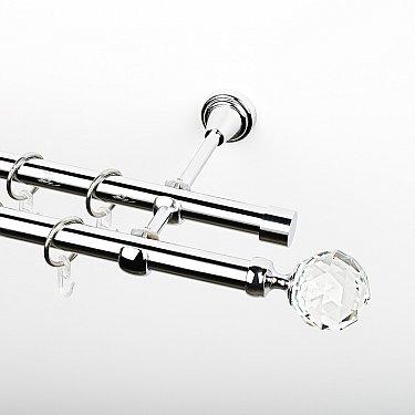 """Карниз металлический стыкованный, 2-рядный """"Леда"""", хром, гладкая труба, ø 19 мм"""