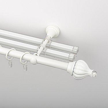 """Карниз металлический стыкованный с U-шинами и наконечниками """"Тайбэй"""", 3-рядный, белый пиано, гладкая труба, ø 19 мм"""