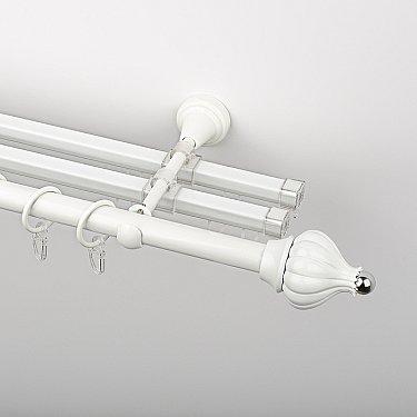 """Карниз металлический стыкованный с U-шинами и наконечниками """"Тай"""", 3-рядный, белый пиано, гладкая труба, ø 19 мм"""