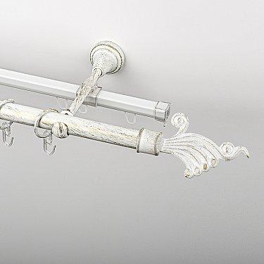 """Карниз металлический стыкованный c наконечниками """"Верди"""", 2-рядный, белое золото, гладкая труба, ø 19 мм"""