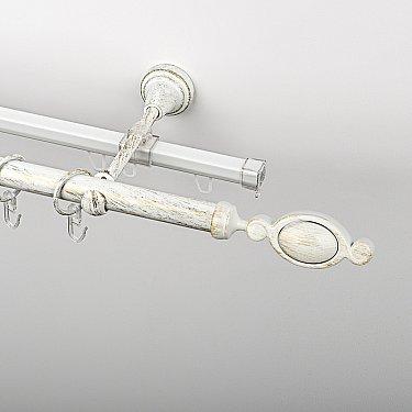 """Карниз металлический стыкованный c наконечниками """"Дуо"""", 2-рядный, белое золото, гладкая труба, ø 19 мм"""