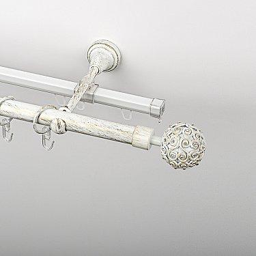 """Карниз металлический стыкованный c наконечниками """"Тэтис"""", 2-рядный, белое золото, гладкая труба, ø 19 мм"""
