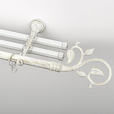 """Карниз металлический стыкованный с U-шинами и наконечниками """"Флора"""", 3-рядный, белое золото, гладкая труба, ø 19 мм"""