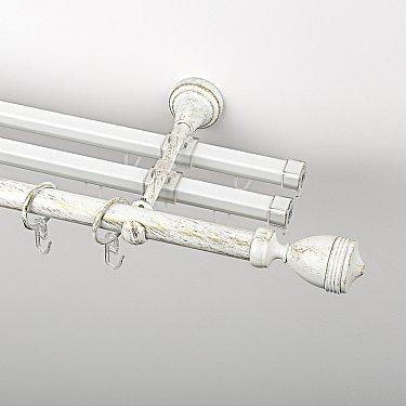 """Карниз металлический стыкованный с U-шинами и наконечниками """"Ремус"""", 3-рядный, белое золото, гладкая труба, ø 19 мм"""