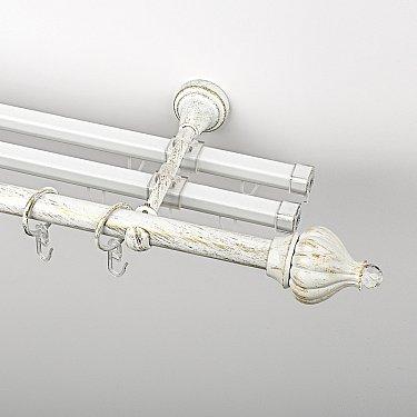 """Карниз металлический стыкованный с U-шинами и наконечниками """"Тайбэй"""", 3-рядный, белое золото, гладкая труба, ø 19 мм"""