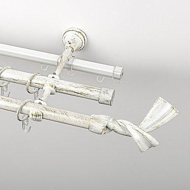 """Карниз металлический стыкованный c наконечниками """"Дива"""", 3-рядный, белое золото, гладкая труба, ø 19 мм"""