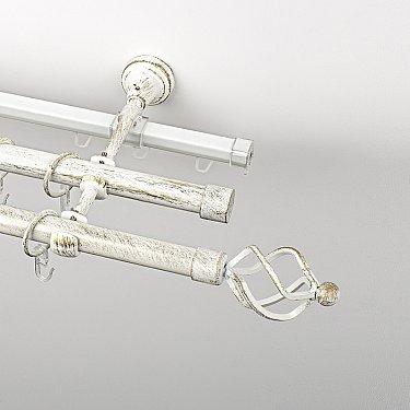 """Карниз металлический стыкованный c наконечниками """"Авея"""", 3-рядный, белое золото, гладкая труба, ø 19 мм"""