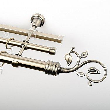 """Карниз металлический стыкованный c наконечниками """"Флора"""", 3-рядный, золото антик, гладкая труба, ø 25 мм"""