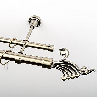 """Карниз металлический стыкованный, 2-рядный """"Верди"""", золото антик, гладкая труба, ø 25 мм"""