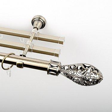 """Карниз металлический стыкованный с U-шинами и наконечниками """"Версаль"""", 3-рядный, золото антик, гладкая труба, ø 25 мм"""