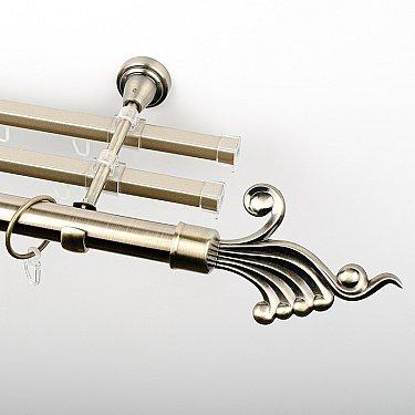 """Карниз металлический стыкованный с U-шинами и наконечниками """"Верди"""", 3-рядный, золото антик, гладкая труба, ø 25 мм"""