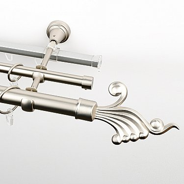 """Карниз металлический стыкованный c наконечниками """"Верди"""", 3-рядный, хром матовый, гладкая труба, ø 25 мм"""