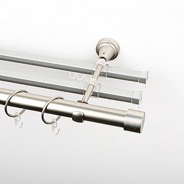 """Карниз металлический стыкованный с U-шинами и заглушками """"Кофу"""", 3-рядный, хром матовый, гладкая труба, ø 25 мм"""