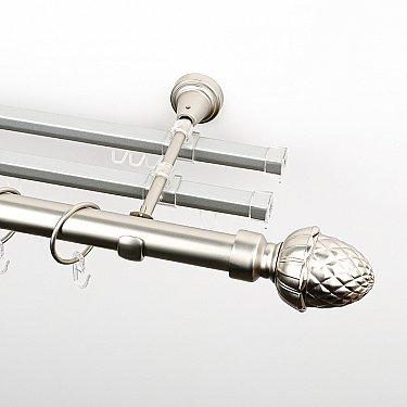 """Карниз металлический стыкованный с U-шинами и наконечниками """"Агра"""", 3-рядный, хром матовый, гладкая труба, ø 25 мм"""