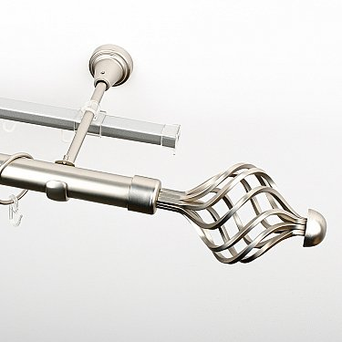 """Карниз металлический стыкованный c наконечниками """"Вито"""", 2-рядный, хром матовый, гладкая труба, ø 25 мм"""