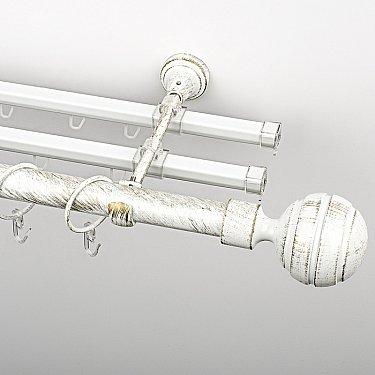 """Карниз металлический стыкованный с U-шинами и наконечниками """"Омега"""", 3-рядный, белое золото, гладкая труба, ø 25 мм"""