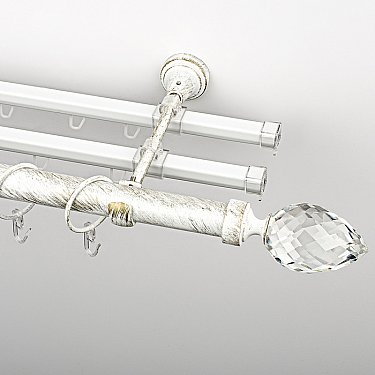 """Карниз металлический стыкованный с U-шинами и наконечниками """"Орегон"""", 3-рядный, белое золото, гладкая труба, ø 25 мм"""