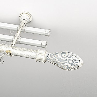 """Карниз металлический стыкованный с U-шинами и наконечниками """"Версаль"""", 3-рядный, белое золото, гладкая труба, ø 25 мм"""