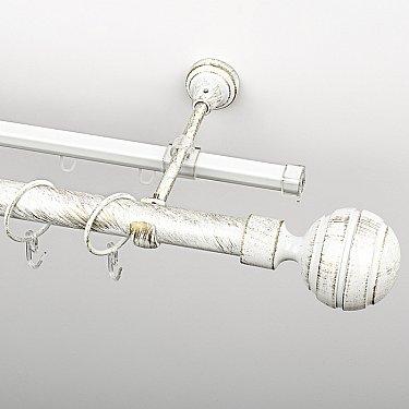 """Карниз металлический стыкованный c наконечниками """"Омега"""", 2-рядный, белое золото, гладкая труба, ø 25 мм"""
