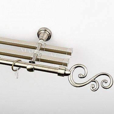 """Карниз металлический стыкованный с U-шинами и наконечниками """"Виола"""", 3-рядный, золото антик, гладкая труба, ø 16 мм"""