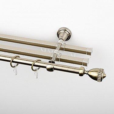 """Карниз металлический стыкованный с U-шинами и наконечниками """"Верона"""", 3-рядный, золото антик, гладкая труба, ø 16 мм"""