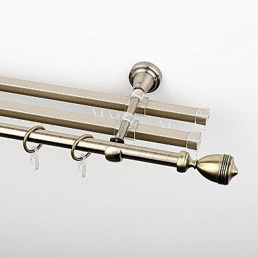 """Карниз металлический стыкованный с U-шинами и наконечниками """"Ремус"""", 3-рядный, золото антик, гладкая труба, ø 16 мм"""