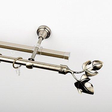 """Карниз металлический стыкованный c наконечниками """"Тоскана"""", 2-рядный, золото антик, гладкая труба, ø 16 мм"""