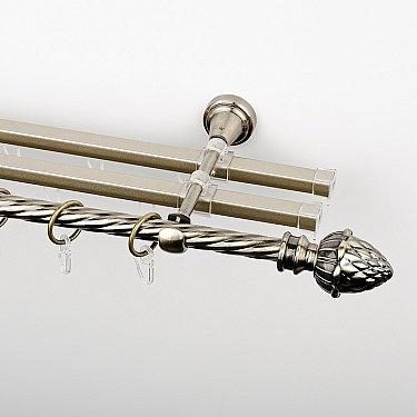 """Карниз металлический стыкованный с U-шинами и наконечниками """"Агра"""", 3-рядный, золото антик, крученая труба, ø 16 мм"""