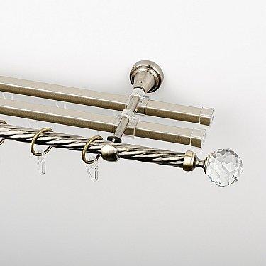 """Карниз металлический стыкованный с U-шинами и наконечниками """"Леда"""", 3-рядный, золото антик, крученая труба, ø 16 мм"""