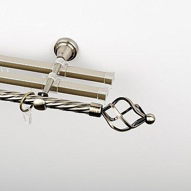 """Карниз металлический стыкованный с U-шинами и наконечниками """"Авея"""", 3-рядный, золото антик, крученая труба, ø 16 мм"""