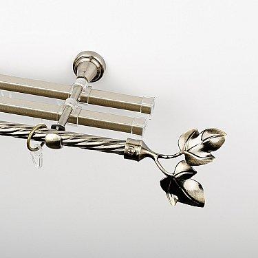 """Карниз металлический стыкованный с U-шинами и наконечниками """"Тоскана"""", 3-рядный, золото антик, крученая труба, ø 16 мм"""