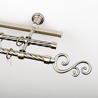 """Карниз металлический стыкованный c наконечниками """"Виола"""", 3-рядный, золото антик, крученая труба, ø 16 мм"""