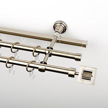 """Карниз металлический стыкованный c наконечниками """"Гарда"""", 3-рядный, золото антик, гладкая труба, ø 16 мм"""