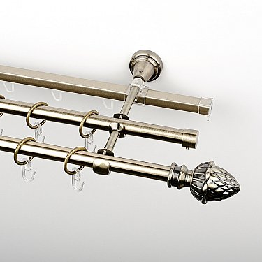 """Карниз металлический стыкованный c наконечниками """"Агра"""", 3-рядный, золото антик, гладкая труба, ø 16 мм"""
