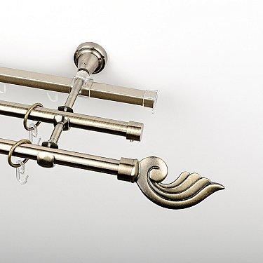 """Карниз металлический стыкованный c наконечниками """"Генуя"""", 3-рядный, золото антик, гладкая труба, ø 16 мм"""