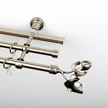 """Карниз металлический стыкованный c наконечниками """"Тоскана"""", 3-рядный, золото антик, гладкая труба, ø 16 мм"""