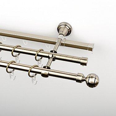 """Карниз металлический стыкованный c наконечниками """"Каро"""", 3-рядный, золото антик, гладкая труба, ø 16 мм"""